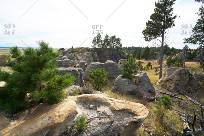 Landscape with eroded rock formations