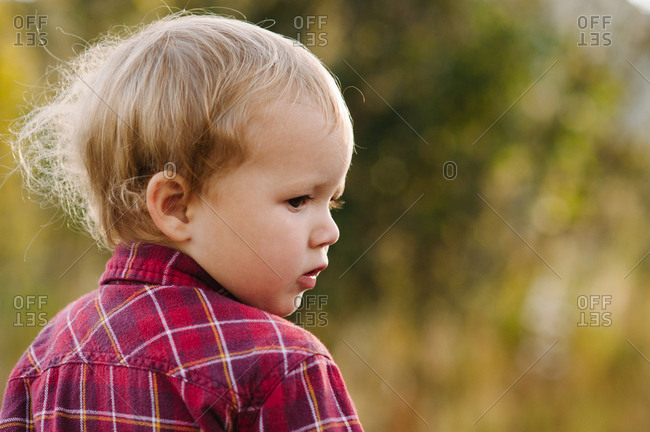 Toddler boy in red plaid shirt looks over his shoulder