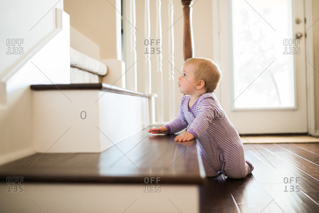 Baby thinking of climbing up stairs