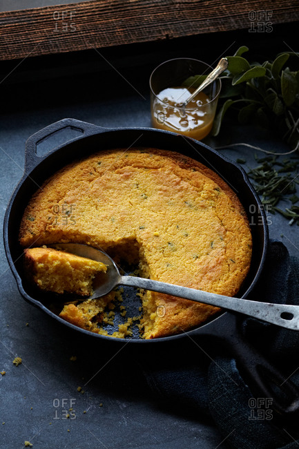 Cornbread in a cast iron pan
