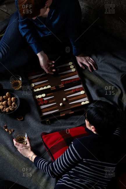 Women playing backgammon