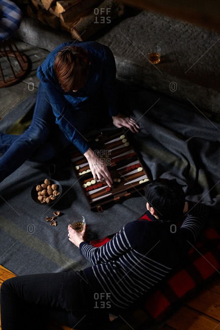 Two women playing backgammon