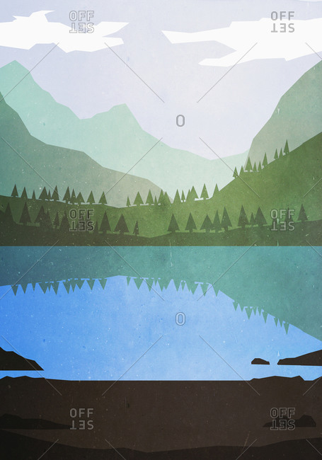 Illustrative image of lake and mountains