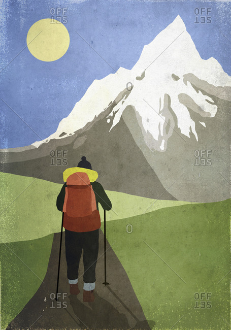 Illustration of hiker standing in front of snowcapped mountain