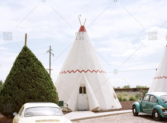 Holbrook, Arizona, USA - September 14, 2015: Old cars in front of Wigwam Motel, Holbrook, Arizona