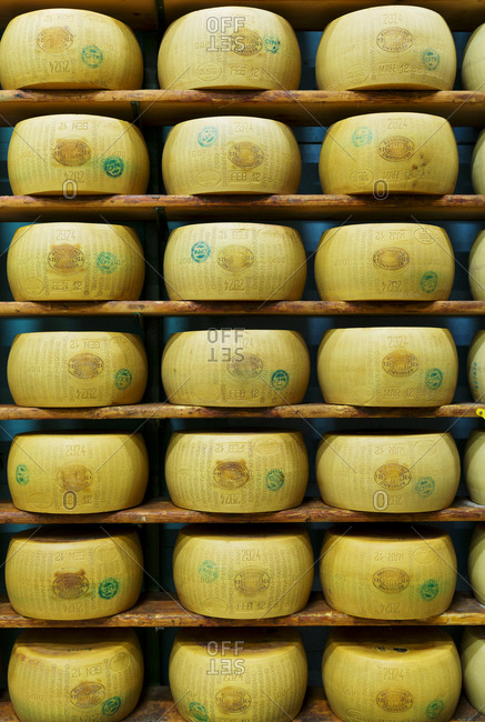 Modena, Italy - October 23, 2013: Parmesan cheese wheels aging in Italy