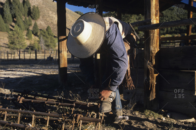 Cowboy at a ranch in Smoky Mountains, Idaho