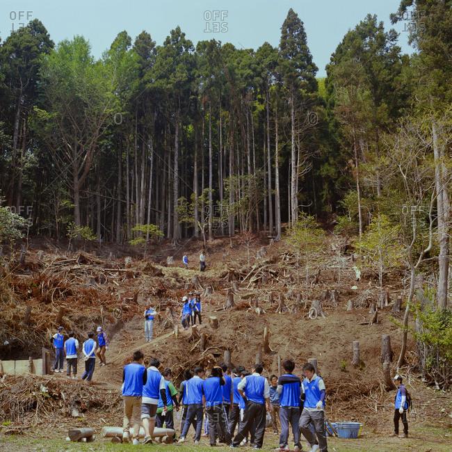 Hamagurihama, Japan - 2014: Volunteers working in rural region in Japan