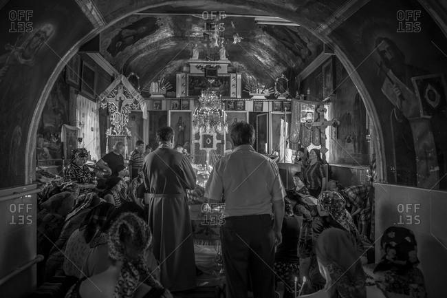 Vadeni, Moldova - August 16, 2015: Funeral service in church
