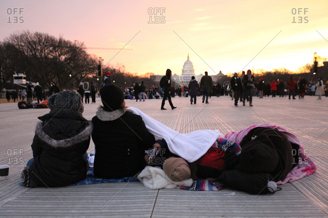 Washington D.C., USA - January 21, 2013: Spectators at the second inauguration of Barack Obama in front of the Capital building