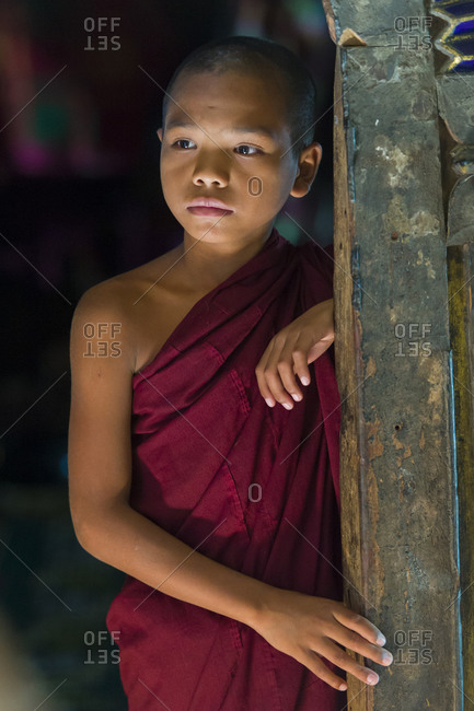 Myanmar - October 3, 2015: Portrait of a child monk at a temple
