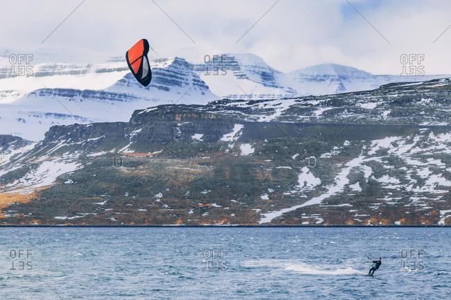 Kite surfing near Eskifjordur, Iceland