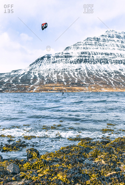 Kite surfing near Eskifjordur in Iceland