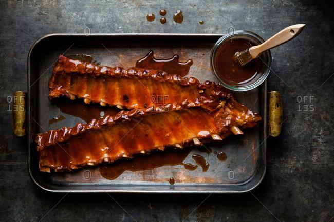 Raw marinated barbecue ribs