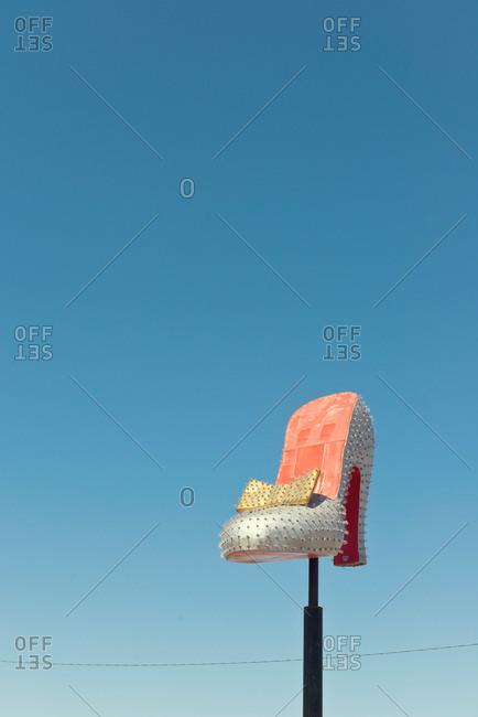 Las Vegas, Nevada - April 14, 2014: Vintage high heel shoe sign at the Neon Museum