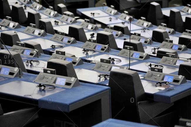 Strasbourg, France - May 02, 2015: Empty seats inside the Hemicycle of the European Parliament