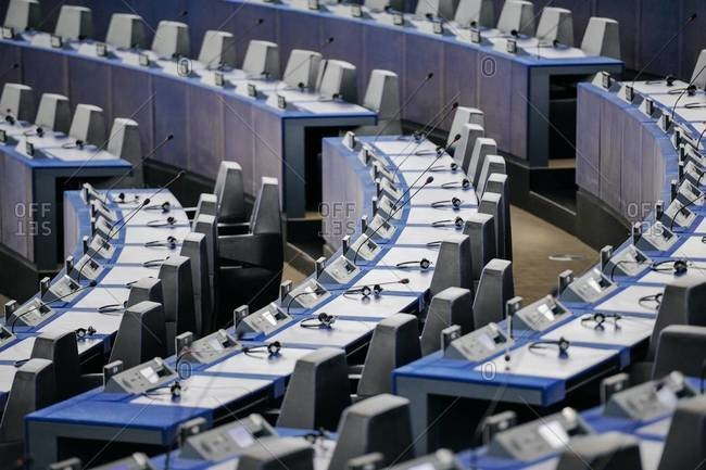 Strasbourg, France - May 02, 2015: Hemicycle of the European Parliament with empty seats