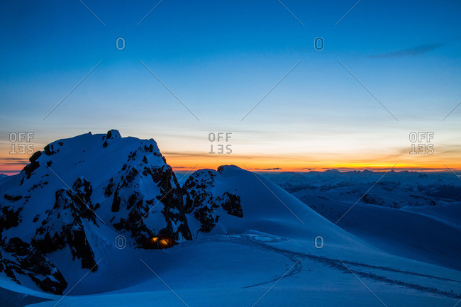 Sunset at the Coast Mountains near Whistler, British Columbia, Canada
