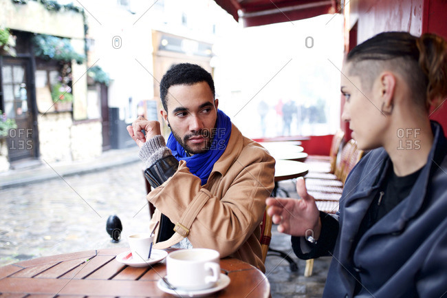 Close up of woman and man at an outdoor caf�