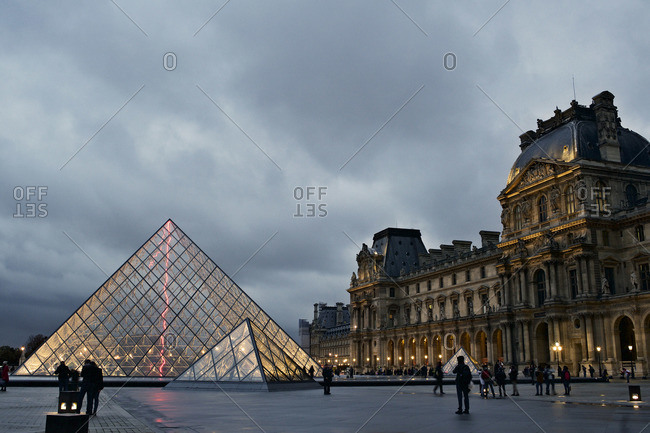 Paris, France - October 16, 2015: Tourists around the Louvre Museum, Paris, France