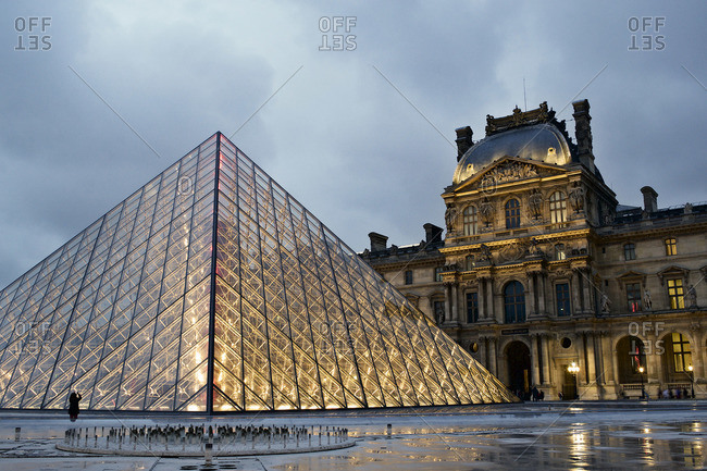 Paris, France - October 16, 2015: The Louvre Museum in the evening, Paris, France