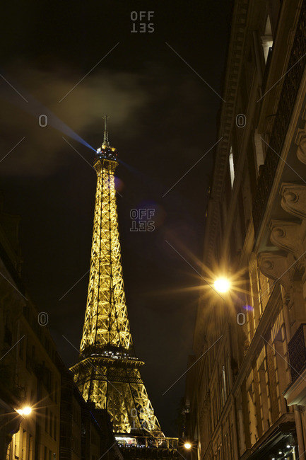 Paris, France - October 16, 2015: The Eiffel Tower illuminated at nighttime, Paris, France