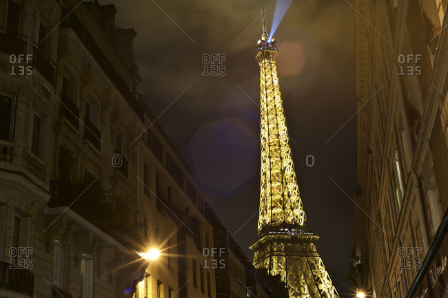 Paris, France - October 16, 2015: The Eiffel Tower illuminated at night, Paris, France