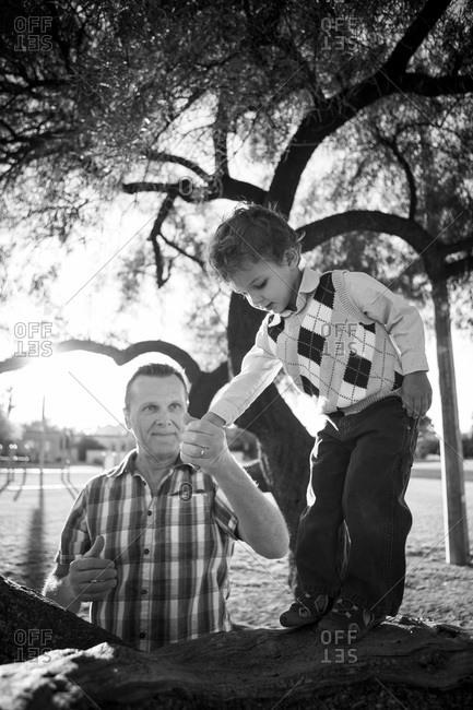 Dad helping boy balance on a tree branch