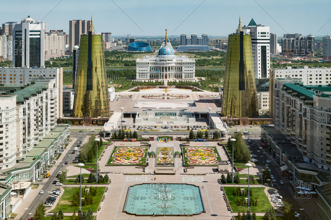 Astana, Kazakhstan - July 18, 2015: View of the Presidential Palace and modern buildings in Astana, Kazakhstan