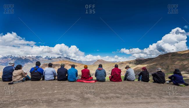 Spiti Valley, India - July 22, 2015: Tourists on Himalayan mountain overlook