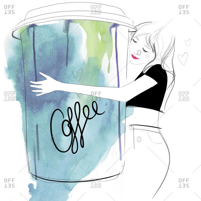 Illustration of woman hugging oversized to-go coffee