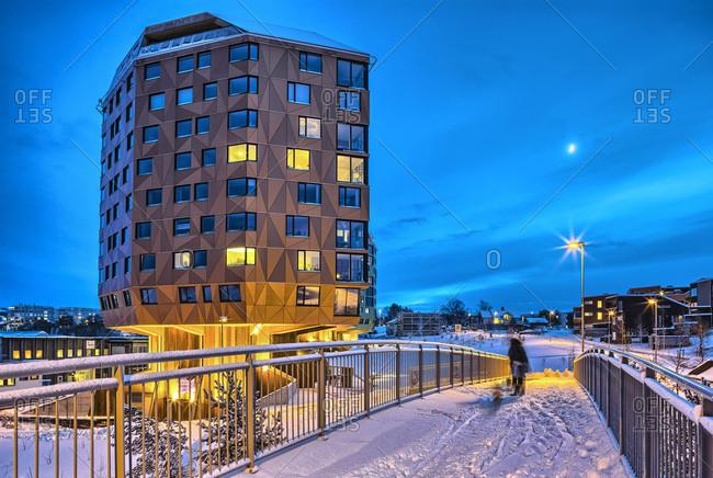 Sandnes, Norway - December 7, 2013: Residential high-rise buildings in winter