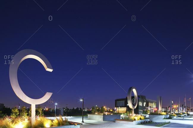 Compton, California - June 8, 2012: View of Compton Transit Center at night