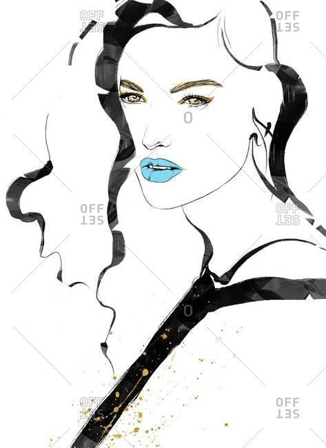 Beautiful woman with blue lipstick