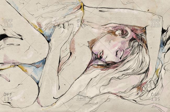 Illustration of a sleeping woman