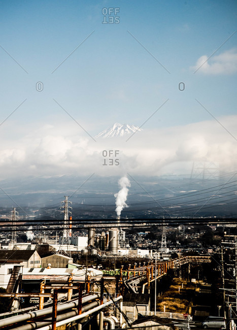 View of industrial plant from the train to Takayama, Japan