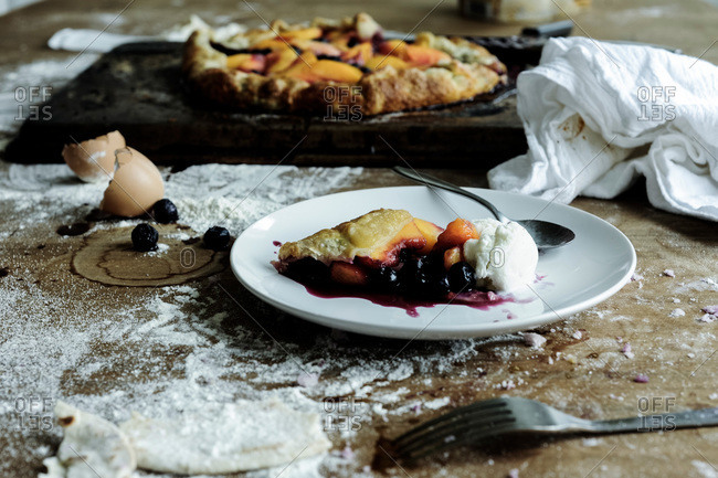 Fresh fruit and berry galette a la mode