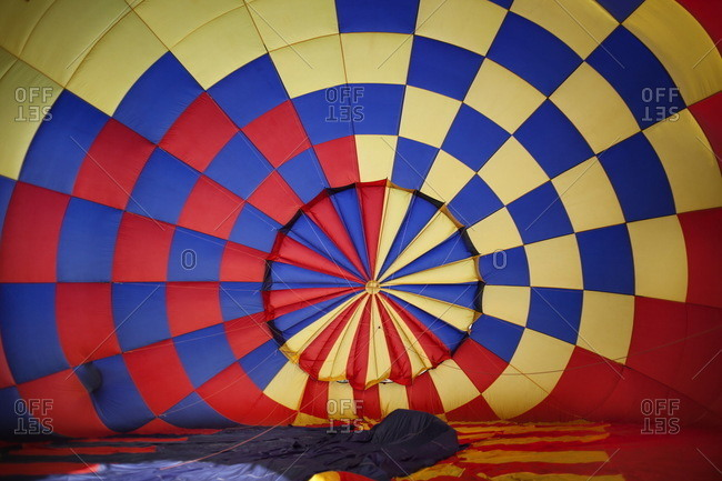 Inside a hot air balloon during inflation