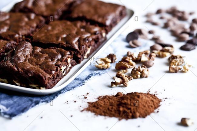 Tray of walnut brownies