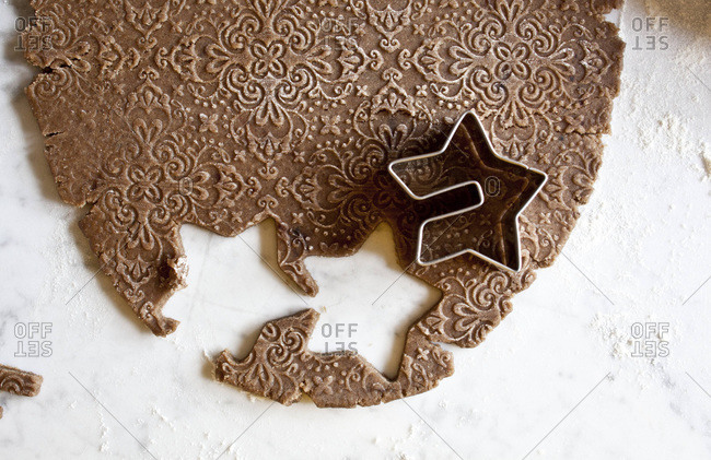 Embossed cookie dough and cookie cutter
