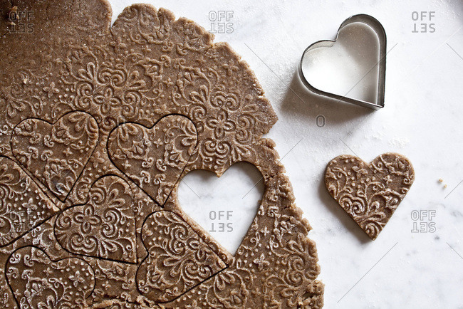 Embossed dough and cookie cutter