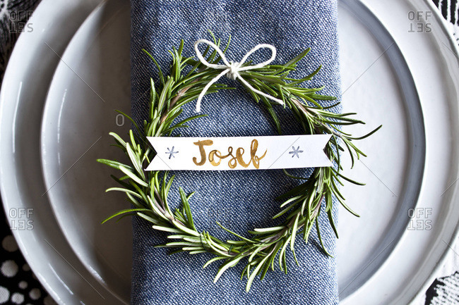 Place setting decorative details and place card