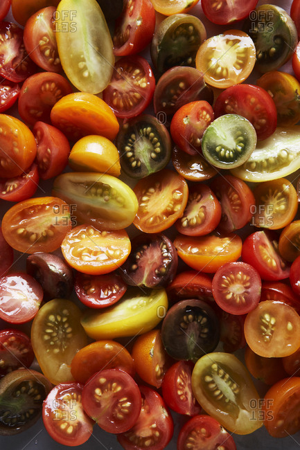Colorful cherry tomatoes, cut in half