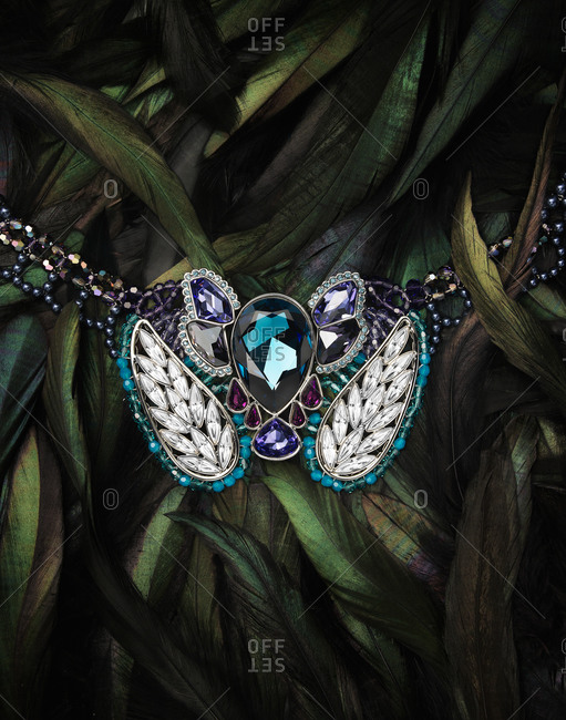 Necklace with sparkling gems on bird feathers