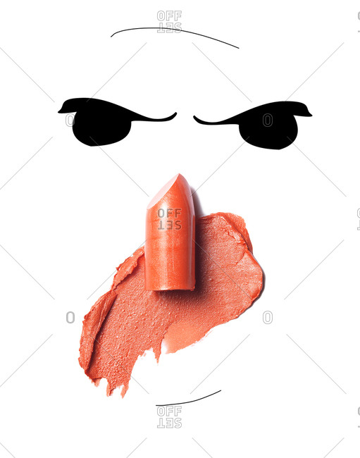 Character illustration with a lipstick nose