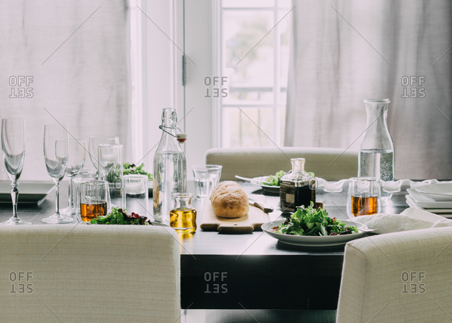 Modern table set with salad plates