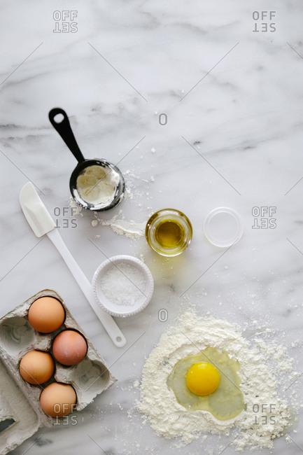 Ingredients for making egg pasta