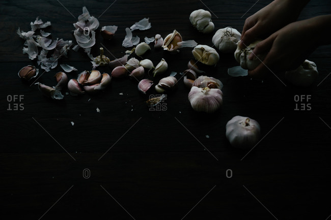 Hand peeling cloves of garlic on black background