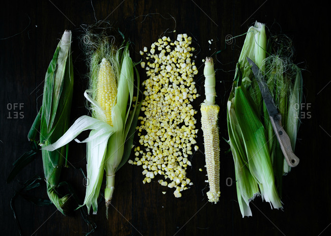 Pile of corn kernels by ears