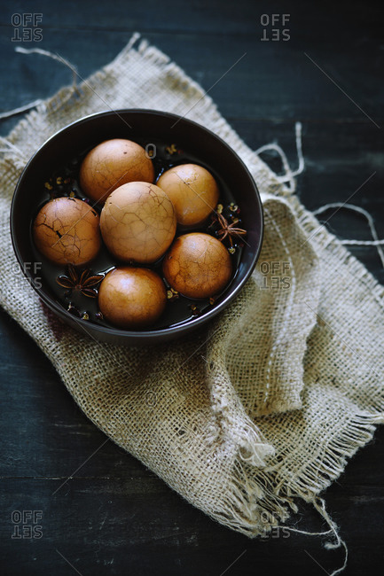 Chinese tea eggs in a bowl